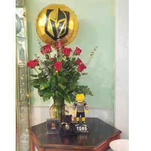 DiBella Flowers & Gifts Las Vegas - Our beautiful long stemmed roses with Knights balloon, Chance statue, Ty beanie bear and Ethel M chocolate puck. Perfect for your Knights fan!