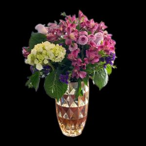 DiBella Flowers & Gifts Las Vegas - Keepsake gold vase with Lavender roses, alstroemeria, hydrangea and more.
