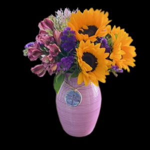 DiBella Flowers & Gifts Las Vegas - Purple Dragonfly vase with fresh sunflowers, Alstromeria and more. ** Alstormeria shades may vay