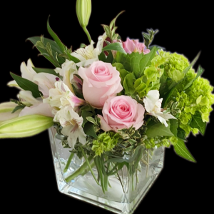 DiBella Flowers & Gifts Las Vegas - Named after one of our favorite customers, green hydrangeas, pink roses alstroemeria and lilies and more in an elegant cube. * Some substitutions on colors may be necessary