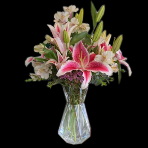 DiBella Flowers & Gifts Las Vegas - Beautiful Stargazer lilies Alstromeria In keepsake vase. * Some substitutions on colors may be necessary