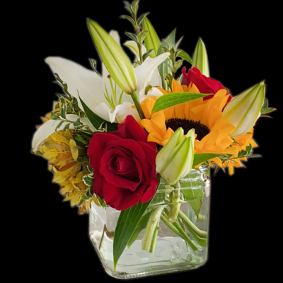 DiBella Flowers & Gifts Las Vegas - Sunny sunflowers, red roses, Alstromerias  and Lilies. So pretty.