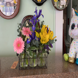 DiBella Flowers & Gifts Las Vegas - Three adorable mason jars with stand full of bright blooms.  *Colors may vary slightly