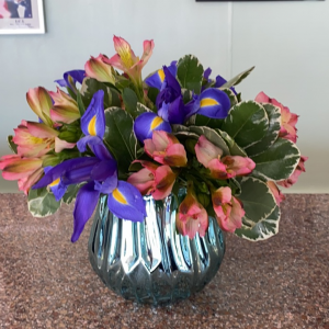 DiBella Flowers & Gifts Las Vegas - Keepsake mirrored aqua vase with fresh iris and alstroemerias