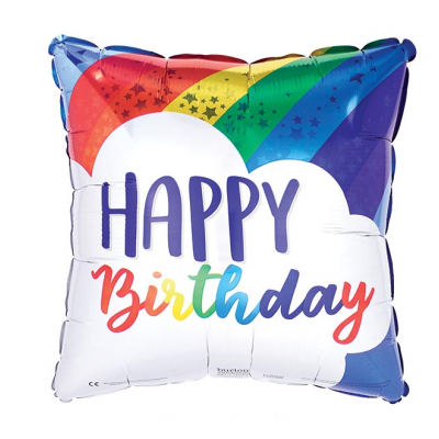 "DiBella Flowers & Gifts Las Vegas - 17"" packaged square Helium Helper balloon. Blue background with a rainbow and cloud with the message ""Happy Birthday""."