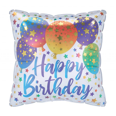 "DiBella Flowers & Gifts Las Vegas - 17"" Packaged ""Happy Birthday"" square shape helium helper balloon is white with colorful ombre balloons and stars pattern."