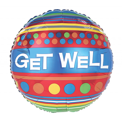 DiBella Flowers & Gifts Las Vegas - GET WELL SOON STRIPES AND DOTS BALLOON
