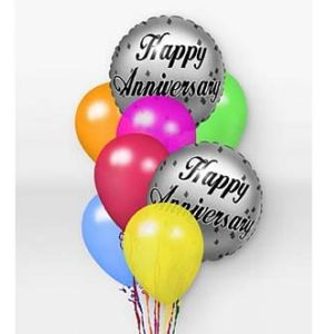 DiBella Flowers & Gifts Las Vegas - When you want your gift to make a big impression, give them this fun Balloon Bouquet. The bouquet arrives with 2 mylar balloons surrounded by 6 latex balloons and tied together with a ribbon. The anniversary mylar balloon designs will vary.