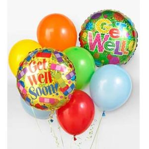 DiBella Flowers & Gifts Las Vegas - When you want your gift to make a big impression, give them this fun Balloon Bouquet. The bouquet arrives with 2 mylar balloons surrounded by 6 latex balloons and tied together with a ribbon. The get well mylar balloon designs will vary.
