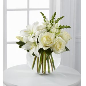DiBella Flowers & Gifts Las Vegas - Special Blessings Bouquet is a brilliantly beautiful arrangement of white roses, Asiatic lilies, snapdragons and carnations are offset by lush greens and seated in a clear glass bubble bowl to create a lovely display of sweet serenity.
