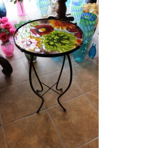 DiBella Flowers & Gifts Las Vegas - Glasstop Garden Deco Table- Mixed Flowers Approx 2 1/2 feet tall