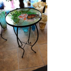 DiBella Flowers & Gifts Las Vegas - Glasstop Garden Deco Table- Butterfly and Flowers