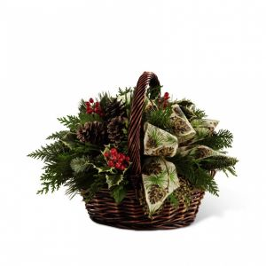 DiBella Flowers & Gifts Las Vegas - The FTD® Christmas Coziness™ Bouquet is an expression of holiday homecoming and heartfelt cheer. Assorted holiday greens, variegated holly, natural pinecones, red berry pics, and cinnamon sticks are lovingly arranged in a dark brown bamboo basket accented with an ivory holiday ribbon to create a seasonal sentiment of peace and goodwill.