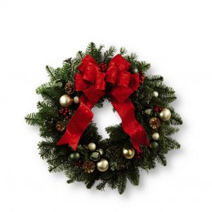 DiBella Flowers & Gifts Las Vegas - Fresh Christmas Wreaths. Showcase the festive feelings and holiday cheer of the season. Comprised of assorted holiday greens this wreath is accented with gold pinecones, berries, assorted green balls, and more to create an incredible wreath to celebrate the Christmas season.