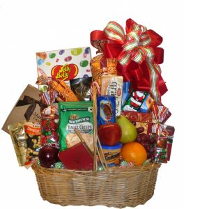 DiBella Flowers & Gifts Las Vegas - Deluxe Goodie Basket An amazing selection of seasonal gourmet goodie items including Jelly Belly line, cookies, popcorn and more. * items may vary slightly from picture