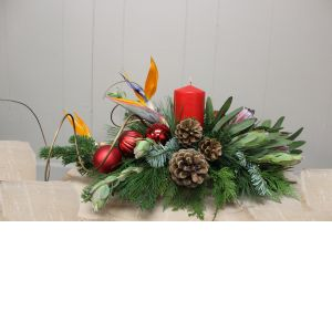 DiBella Flowers & Gifts Las Vegas - Tropical Holiday Birds of Paradise, Protea, Pine cones, Fresh Christmas Greens,Ornaments and a Red Pillar Candle. Elegant and Festive this Centerpiece is the perfect touch to your table.