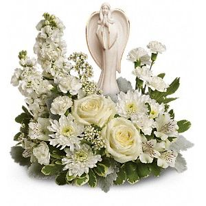DiBella Flowers & Gifts Las Vegas - Peaceful and majestic, a graceful angel rests amongst fragrant, snow white roses, alstroemeria and stock. Delivered with Angel of Grace keepsake.