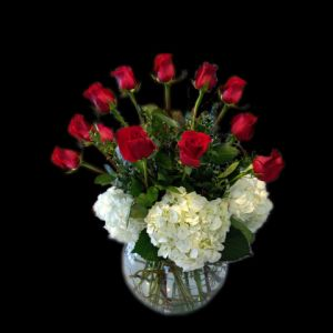 DiBella Flowers & Gifts Las Vegas - A dozen premium long stemmed roses surrounded by white hydrangea in a classic bubble bowl. Classy and elegant! *please chose color of roses