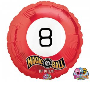 "DiBella Flowers & Gifts Las Vegas - Magic 8 Ball Sing a Tune balloon. Randomly plays 1 of 3 Valentine messages when tapped. ""So Sorry, Honey!"" ""As you wish!"" ""Sound good to me!"" 28 inch"