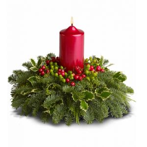 DiBella Flowers & Gifts Las Vegas - What could be cozier than a fragrant holiday arrangement bathed in the warm glow of a classic pillar candle? Picture it in your home, on your mantle or a hallway table. Wouldn't that bring the Christmas spirit to life? *Greens may vary upon availability.