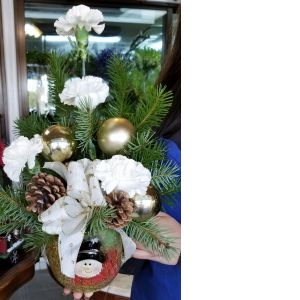DiBella Flowers & Gifts Las Vegas - Adorable rustic oversized Christmas mug arrangement filled with seasonal green, ornaments, bow and snow white Carnations.
