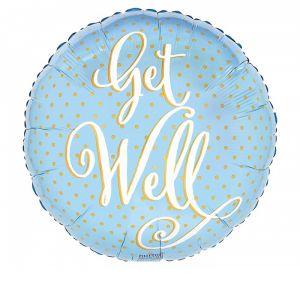 "DiBella Flowers & Gifts Las Vegas - 17""PKG GET WELL YELLOW DOTS ON LGHT BLUE"