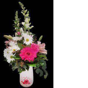 DiBella Flowers & Gifts Las Vegas - Keepsake love vase with fresh pink and white blooms.