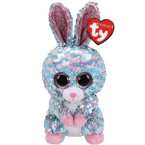 DiBella Flowers & Gifts Las Vegas - I'm a cute little bunny with big pink glittery eyes. Pick me up and hold me and you will be surprised. You can change my sequins from blue to silvery bright. You'll even see pink or purple as they catch the light. I'm unique with little pink feet and I can do more than hop. I am a Flippable Beanie Boo by the name of Raindrop.  BIRTHDAY: May 16  POEM: A guaranteed way to brighten your day Is flipping my sequins the other way!  This plush features color-changing reversible sequin fabric Swipe one way and it becomes one color, swipe the other way and it becomes another! Dazzling fluorescent, iridescent, pearlescent, and even holographic colors! Includes official Ty Heart with birthday and poem Surface clean only