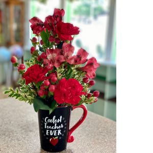 DiBella Flowers & Gifts Las Vegas - Coolest mug for the coolest teacher with fresh red blooms.