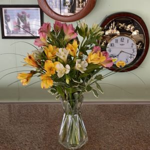 DiBella Flowers & Gifts Las Vegas - Mixed color alstroemeria lilies in keepsake vase  *alstro colors may vary