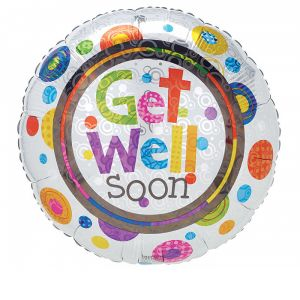 "DiBella Flowers & Gifts Las Vegas - 17"" packaged helium helper prism look balloon with the message ""Get well soon""."