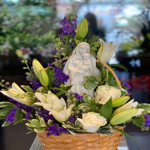 DiBella Flowers & Gifts Las Vegas - Keepsake Mary statue with white lilies, white roses and more