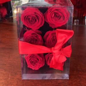 DiBella Flowers & Gifts Las Vegas - 6 of our forever roses in a clear box with red bow.