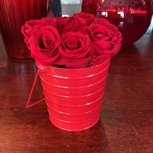 DiBella Flowers & Gifts Las Vegas - 8 of our gorgeous forever roses and a red tin pail.
