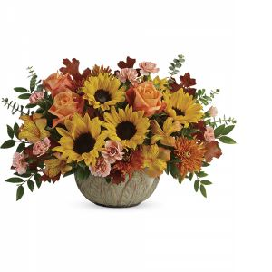 DiBella Flowers & Gifts Las Vegas - Bursting with fall cheer, this radiant autumnal arrangement arrives in a stunning oven-to-table stoneware bowl that's hand-glazed in a gorgeous shade of sage. Here's to years of fall décor and serving delight!