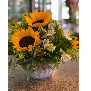 DiBella Flowers & Gifts Las Vegas - Fresh sunflowers and alstroemeria lilies in keepsake stoneware.