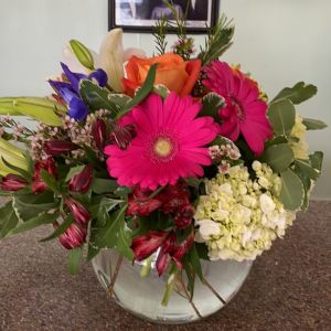 DiBella Flowers & Gifts Las Vegas - Fresh seasonal blooms in a bubble bowl with alstroemerias, hydrangea and more. * colors may vary depending on availability