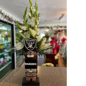 DiBella Flowers & Gifts Las Vegas - Keepsake raiders totem with fresh blooms. Perfect for the ultimate fan.