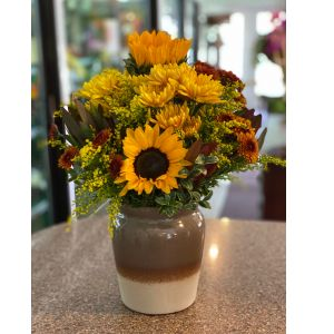 DiBella Flowers & Gifts Las Vegas - Keepsake stoneware jar full of fresh fall blooms.