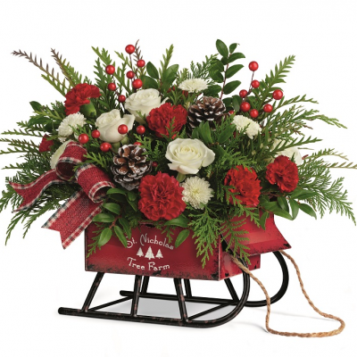 DiBella Flowers & Gifts Las Vegas - SLEIGH BELLS BOUQUET RED AND WHITE CHRISTMAS BLOOMS IN KEEPSAKE SLEIGH