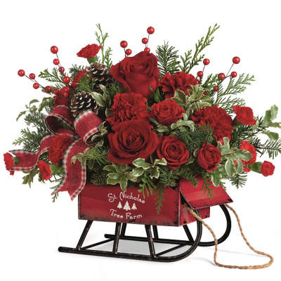 DiBella Flowers & Gifts Las Vegas - ROSY SLIEGH BT  ALL RED FLOWERS IN KEEPSAKE SLEIGH