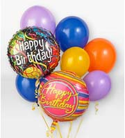 DiBella Flowers & Gifts Las Vegas - When you want your gift to make a big impression, give them this fun Balloon Bouquet. The bouquet arrives with 2 mylar balloons surrounded by 6 latex balloons and tied together with a ribbon. The birthday mylar balloon designs will vary.