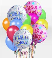 DiBella Flowers & Gifts Las Vegas - When you want your gift to make a big impression, give them this fun Balloon Bunch The bouquet arrives with 2 mylar balloons surrounded by 6 latex balloons and tied together with a ribbon. The baby mylar balloon designs will vary.