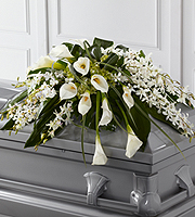 DiBella Flowers & Gifts Las Vegas - The Angel Wings Casket Spray is an exceptionally gorgeous way to bring peace and beauty to their final farewell service. White Dendrobium orchids, white calla lilies, green hydrangea and a variety of lush greens are artfully arranged to perfectly adorn the top of their casket, offering the colors and ambiance of grace and serenity.