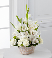 DiBella Flowers & Gifts Las Vegas - The FTD® Eternal Affection™ Arrangement is a peaceful offering of heartfelt sympathy. White gladiolus, Peruvian lilies, carnations, mini carnations and lush greens are beautifully arranged in a round whitewash handled basket to create a beautiful display of soft serenity.