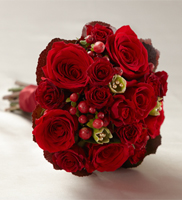 DiBella Flowers & Gifts Las Vegas - Heart's Promise Bouquet is an expression of true love and rich romance. Red roses, spray roses, carnations, hypericum berries and galax leaves are accented with gold pixie pearl pins and tied together at the stems with a red satin ribbon to create a dramatic look perfect for your wedding day.