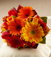 Sunglow Bouquet is a blooming wish for happiness and sunlit cheer throughout your lifetime together. Red, orange and bi-colored orange tulips are brought together with red, orange and gold gerbera daisies and colorful croton leaves to create a fantastic eye-catching look. Tied together at the stems with a golden satin ribbon, this bouquet will make the sun shine on your wedding day regardless of the weather.