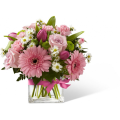 """FTD proudly presents the Better Homes and Gardens Blooming Visions Bouquet. Offer them a bouquet blooming with a """"fresh from the garden"""" appeal. Pink roses, carnations, mini carnations, and gerbera daisies are accented with Queen Anne's Lace and lush greens. Gorgeously arranged in a clear glass cube vase accented with a pink satin ribbon, this bouquet is a soft and graceful way to send your warmest sentiments. GOOD bouquet includes 13 stems. Approx. 11""""H x 11""""W. BETTER bouquet includes 20 stems. Approx. 12""""H x 12""""W. BEST bouquet includes 27 stems. Approx. 13""""H x 13""""W. <br>"""