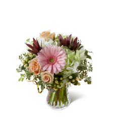 """The FTD So Beautiful Bouquet has that """"fresh from the garden"""" appeal that your special recipient will fall in love with! Peach roses, pink gerbera daisies, green hydrangea, peach hypericum berries and an assortment of lush greens are brought together in a clear glass vase to create a delightful bouquet that is perfect to celebrate any of life's special moments. GOOD bouquet includes 5 stems. Approx. 13""""H x 11""""W. BETTER bouquet includes 7 stems. Approx. 14""""H x 12""""W. BEST bouquet includes 10 stems. Approx. 15""""H x 13""""W. <br>"""