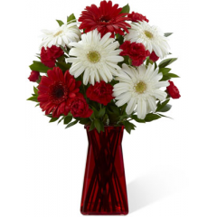 """The FTD Instant Happiness Bouquet is set to bring cheer and joy to your special recipient with each eye-catching bloom! White gerbera daisies pop against the rich reds of gerbera daisies and mini carnations. Accented with lush greens and seated in a ruby gathered square glass vase, this bouquet is an incredible way to add to the beauty of their day. GOOD bouquet includes 8 stems. Approx. 15""""H x 11""""W. BETTER bouquet includes 12 stems. Approx. 16""""H x 12""""W. BEST bouquet includes 16 stems. Approx. 18""""H x 13""""W.  <br>"""